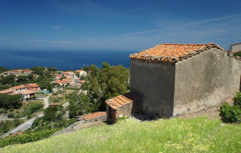 Palmento alla Gabbiola a Colle d'Orano In splendida posizione dominante con vista sul mare e la Corsica, vecchio e tipico magazzino rurale elbano da ristrutturare. Prezzo abbassato !