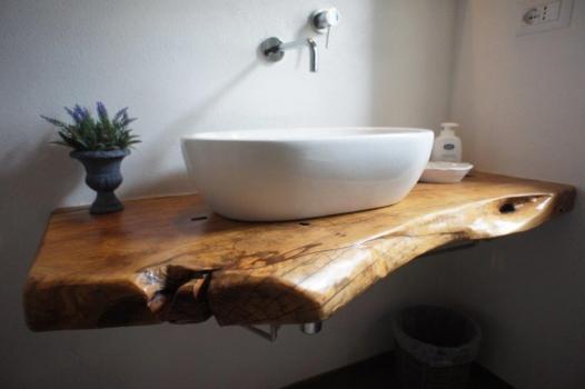 bagno pianterreno lavandino - Bad Erdgeschoss Waschbecken mit Olivenholz (2)