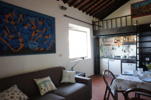 Wohnraum mit Schlafsofa, Kochnische und Hochbett